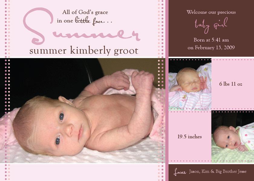 buttercupprints – Baby Girl Birth Announcement Template